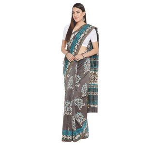 Grey & Blue Chanderi Silk Hand Block Print Handcrafted Saree-Saree-Kalakari India-RDSWSA0080-Chanderi, Geographical Indication, Hand Blocks, Hand Crafted, Heritage Prints, Sarees, Silk, Sustainable Fabrics-[Linen,Ethnic,wear,Fashionista,Handloom,Handicraft,Indigo,blockprint,block,print,Cotton,Chanderi,Blue, latest,classy,party,bollywood,trendy,summer,style,traditional,formal,elegant,unique,style,hand,block,print, dabu,booti,gift,present,glamorous,affordable,collectible,Sari,Saree,printed, holi,