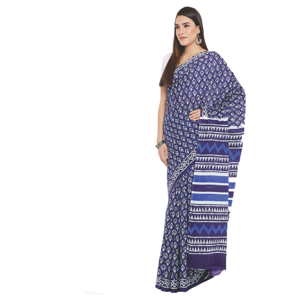 Navy Blue & White Indigo Screen Print Handcrafted Cotton Saree-Saree-Kalakari India-RDSWSA0082-Cotton, Geographical Indication, Hand Blocks, Hand Crafted, Heritage Prints, Indigo, Sarees, Screen Print, Sustainable Fabrics-[Linen,Ethnic,wear,Fashionista,Handloom,Handicraft,Indigo,blockprint,block,print,Cotton,Chanderi,Blue, latest,classy,party,bollywood,trendy,summer,style,traditional,formal,elegant,unique,style,hand,block,print, dabu,booti,gift,present,glamorous,affordable,collectible,Sari,Saree