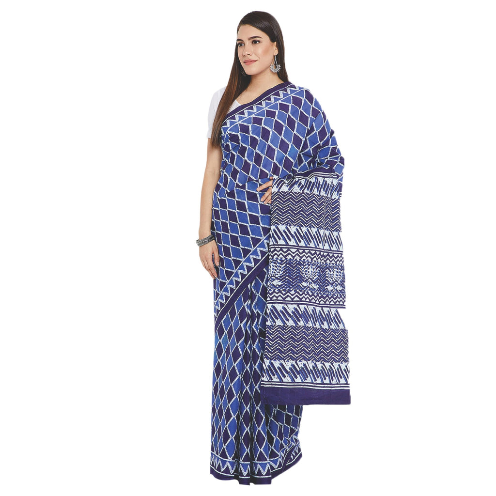 Navy Blue & White Indigo Screen Print Handcrafted Cotton Saree-Saree-Kalakari India-RDSWSA0084-Cotton, Geographical Indication, Hand Blocks, Hand Crafted, Heritage Prints, Indigo, Sarees, Screen Print, Sustainable Fabrics-[Linen,Ethnic,wear,Fashionista,Handloom,Handicraft,Indigo,blockprint,block,print,Cotton,Chanderi,Blue, latest,classy,party,bollywood,trendy,summer,style,traditional,formal,elegant,unique,style,hand,block,print, dabu,booti,gift,present,glamorous,affordable,collectible,Sari,Saree