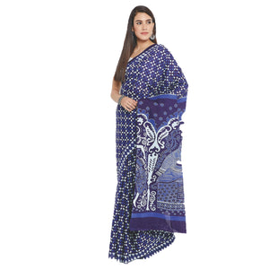 Navy Blue & White Indigo Screen Print Handcrafted Cotton Saree-Saree-Kalakari India-RDSWSA0086-Cotton, Geographical Indication, Hand Blocks, Hand Crafted, Heritage Prints, Indigo, Sarees, Screen Print, Sustainable Fabrics-[Linen,Ethnic,wear,Fashionista,Handloom,Handicraft,Indigo,blockprint,block,print,Cotton,Chanderi,Blue, latest,classy,party,bollywood,trendy,summer,style,traditional,formal,elegant,unique,style,hand,block,print, dabu,booti,gift,present,glamorous,affordable,collectible,Sari,Saree