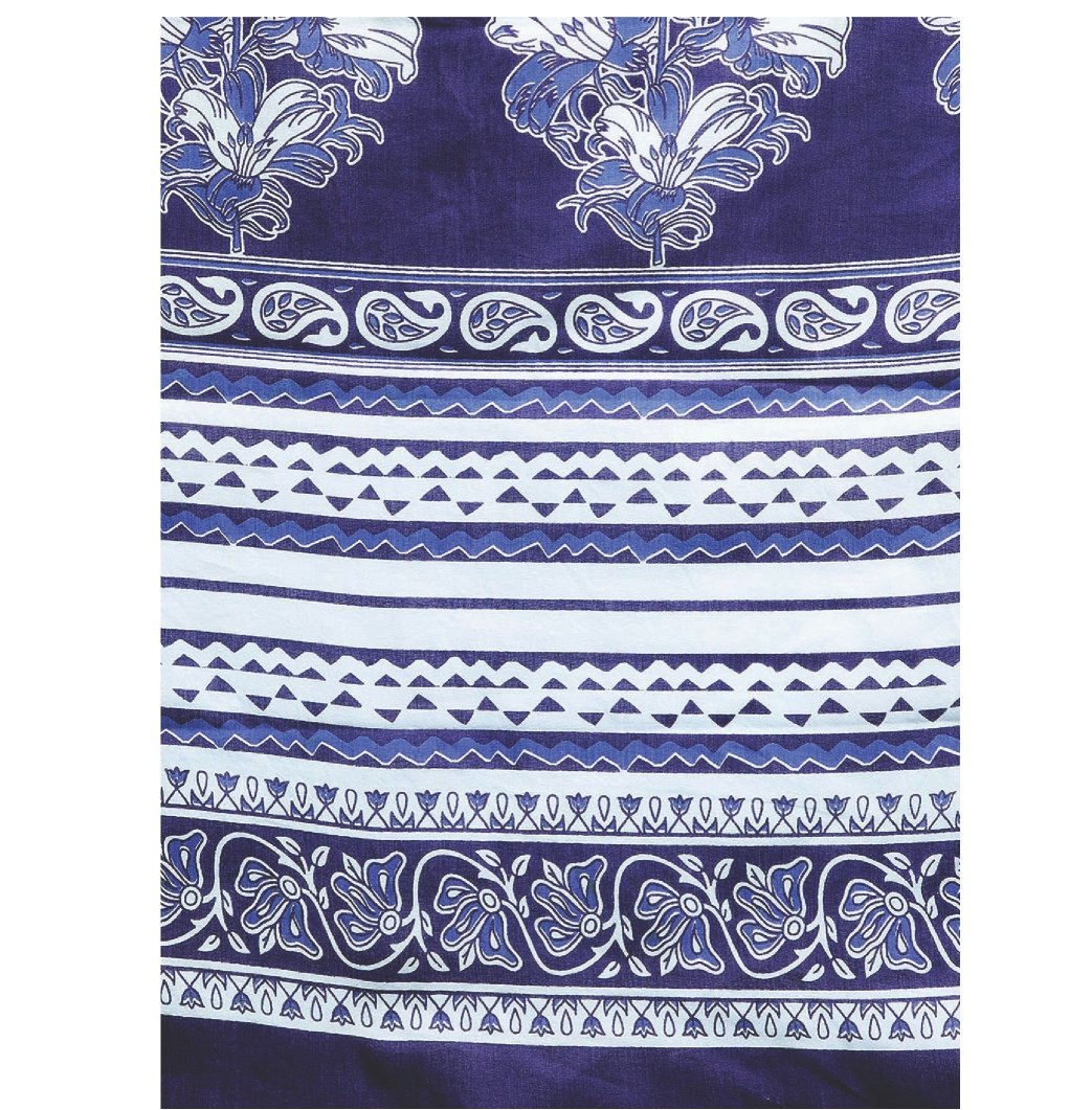 Navy Blue & White Indigo Screen Print Handcrafted Cotton Saree-Saree-Kalakari India-RDSWSA0087-Cotton, Geographical Indication, Hand Blocks, Hand Crafted, Heritage Prints, Indigo, Sarees, Screen Print, Sustainable Fabrics-[Linen,Ethnic,wear,Fashionista,Handloom,Handicraft,Indigo,blockprint,block,print,Cotton,Chanderi,Blue, latest,classy,party,bollywood,trendy,summer,style,traditional,formal,elegant,unique,style,hand,block,print, dabu,booti,gift,present,glamorous,affordable,collectible,Sari,Saree
