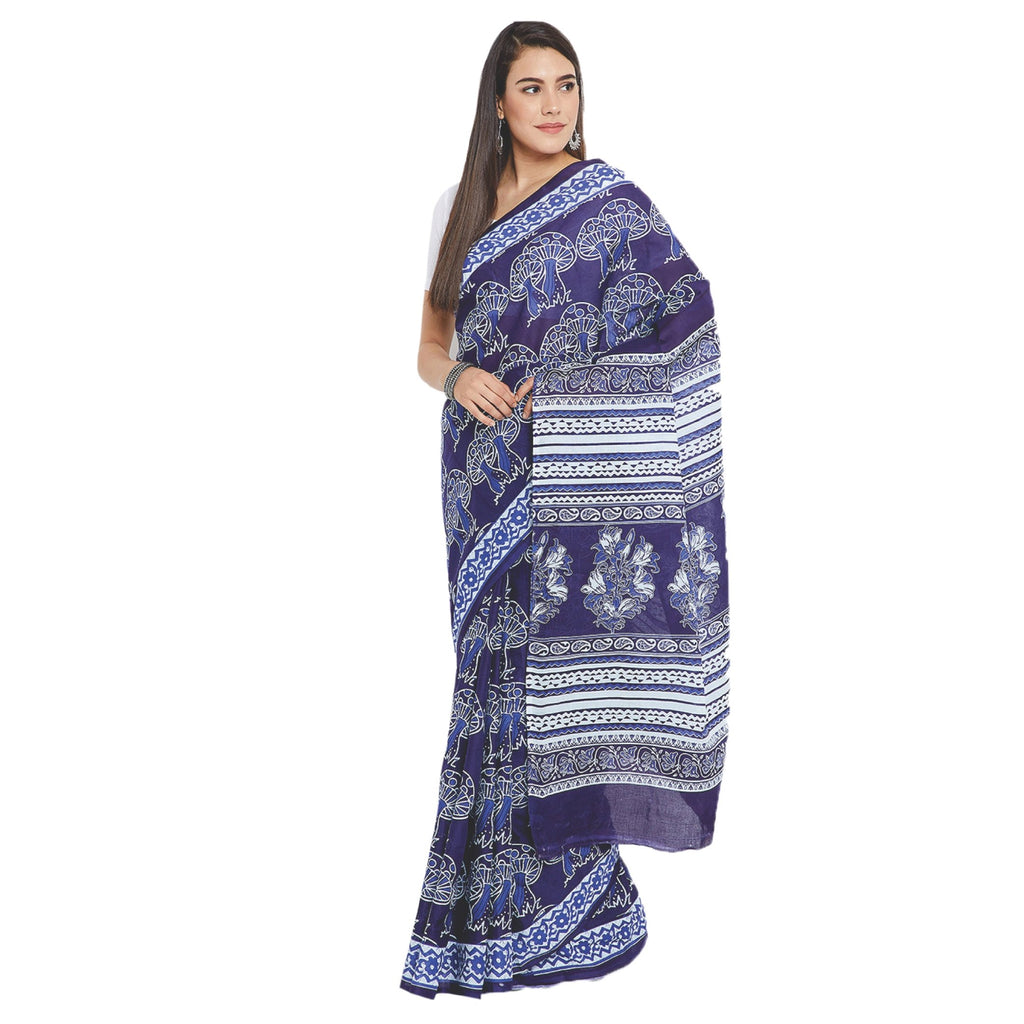 Navy Blue & White Indigo Screen Print Handcrafted Cotton Saree-Saree-Kalakari India-RDSWSA0088-Cotton, Geographical Indication, Hand Blocks, Hand Crafted, Heritage Prints, Indigo, Sarees, Screen Print, Sustainable Fabrics-[Linen,Ethnic,wear,Fashionista,Handloom,Handicraft,Indigo,blockprint,block,print,Cotton,Chanderi,Blue, latest,classy,party,bollywood,trendy,summer,style,traditional,formal,elegant,unique,style,hand,block,print, dabu,booti,gift,present,glamorous,affordable,collectible,Sari,Saree