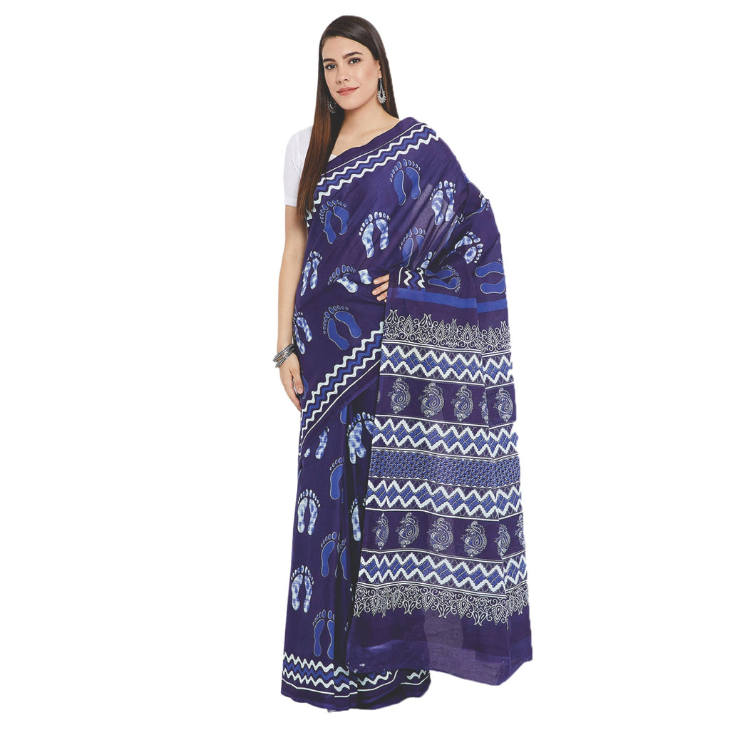 Navy Blue & White Indigo Screen Print Handcrafted Cotton Saree-Saree-Kalakari India-RDSWSA0089-Cotton, Geographical Indication, Hand Blocks, Hand Crafted, Heritage Prints, Indigo, Sarees, Screen Print, Sustainable Fabrics-[Linen,Ethnic,wear,Fashionista,Handloom,Handicraft,Indigo,blockprint,block,print,Cotton,Chanderi,Blue, latest,classy,party,bollywood,trendy,summer,style,traditional,formal,elegant,unique,style,hand,block,print, dabu,booti,gift,present,glamorous,affordable,collectible,Sari,Saree