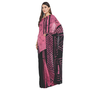 Pink & Black Batik Colour Block Print Handcrafted Cotton Saree-Saree-Kalakari India-RDSWSA0090-Chanderi, Geographical Indication, Hand Blocks, Hand Crafted, Heritage Prints, Sarees, Sustainable Fabrics-[Linen,Ethnic,wear,Fashionista,Handloom,Handicraft,Indigo,blockprint,block,print,Cotton,Chanderi,Blue, latest,classy,party,bollywood,trendy,summer,style,traditional,formal,elegant,unique,style,hand,block,print, dabu,booti,gift,present,glamorous,affordable,collectible,Sari,Saree,printed, holi, Diwa