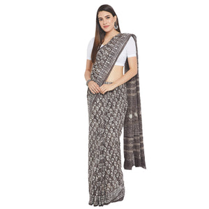 Grey & White Hand Block Print Handcrafted Cotton Saree-Saree-Kalakari India-RDSWSA0092-Chanderi, Geographical Indication, Hand Blocks, Hand Crafted, Heritage Prints, Sarees, Sustainable Fabrics-[Linen,Ethnic,wear,Fashionista,Handloom,Handicraft,Indigo,blockprint,block,print,Cotton,Chanderi,Blue, latest,classy,party,bollywood,trendy,summer,style,traditional,formal,elegant,unique,style,hand,block,print, dabu,booti,gift,present,glamorous,affordable,collectible,Sari,Saree,printed, holi, Diwali, birt