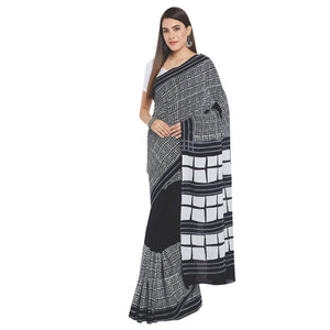 Black & White Hand Block Print Handcrafted Cotton Saree-Saree-Kalakari India-RDSWSA0093-Chanderi, Geographical Indication, Hand Blocks, Hand Crafted, Heritage Prints, Sarees, Sustainable Fabrics-[Linen,Ethnic,wear,Fashionista,Handloom,Handicraft,Indigo,blockprint,block,print,Cotton,Chanderi,Blue, latest,classy,party,bollywood,trendy,summer,style,traditional,formal,elegant,unique,style,hand,block,print, dabu,booti,gift,present,glamorous,affordable,collectible,Sari,Saree,printed, holi, Diwali, bir
