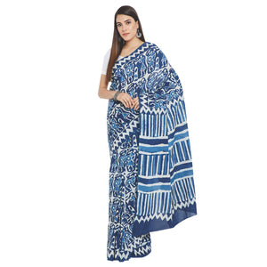 Blue & White Indigo Hand Block Print Handcrafted Cotton Saree-Saree-Kalakari India-RDSWSA0096-Cotton, Geographical Indication, Hand Blocks, Hand Crafted, Heritage Prints, Indigo, Sarees, Sustainable Fabrics-[Linen,Ethnic,wear,Fashionista,Handloom,Handicraft,Indigo,blockprint,block,print,Cotton,Chanderi,Blue, latest,classy,party,bollywood,trendy,summer,style,traditional,formal,elegant,unique,style,hand,block,print, dabu,booti,gift,present,glamorous,affordable,collectible,Sari,Saree,printed, holi,