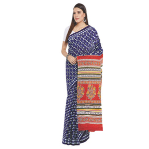 Navy Blue & White Indigo Screen Print Handcrafted Cotton Saree-Saree-Kalakari India-RDSWSA0100-Cotton, Geographical Indication, Hand Blocks, Hand Crafted, Heritage Prints, Indigo, Sarees, Screen Print, Sustainable Fabrics-[Linen,Ethnic,wear,Fashionista,Handloom,Handicraft,Indigo,blockprint,block,print,Cotton,Chanderi,Blue, latest,classy,party,bollywood,trendy,summer,style,traditional,formal,elegant,unique,style,hand,block,print, dabu,booti,gift,present,glamorous,affordable,collectible,Sari,Saree