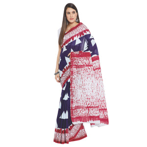 Navy Blue & White Indigo Screen Print Handcrafted Cotton Saree-Saree-Kalakari India-RDSWSA0101-Cotton, Geographical Indication, Hand Blocks, Hand Crafted, Heritage Prints, Indigo, Sarees, Screen Print, Sustainable Fabrics-[Linen,Ethnic,wear,Fashionista,Handloom,Handicraft,Indigo,blockprint,block,print,Cotton,Chanderi,Blue, latest,classy,party,bollywood,trendy,summer,style,traditional,formal,elegant,unique,style,hand,block,print, dabu,booti,gift,present,glamorous,affordable,collectible,Sari,Saree