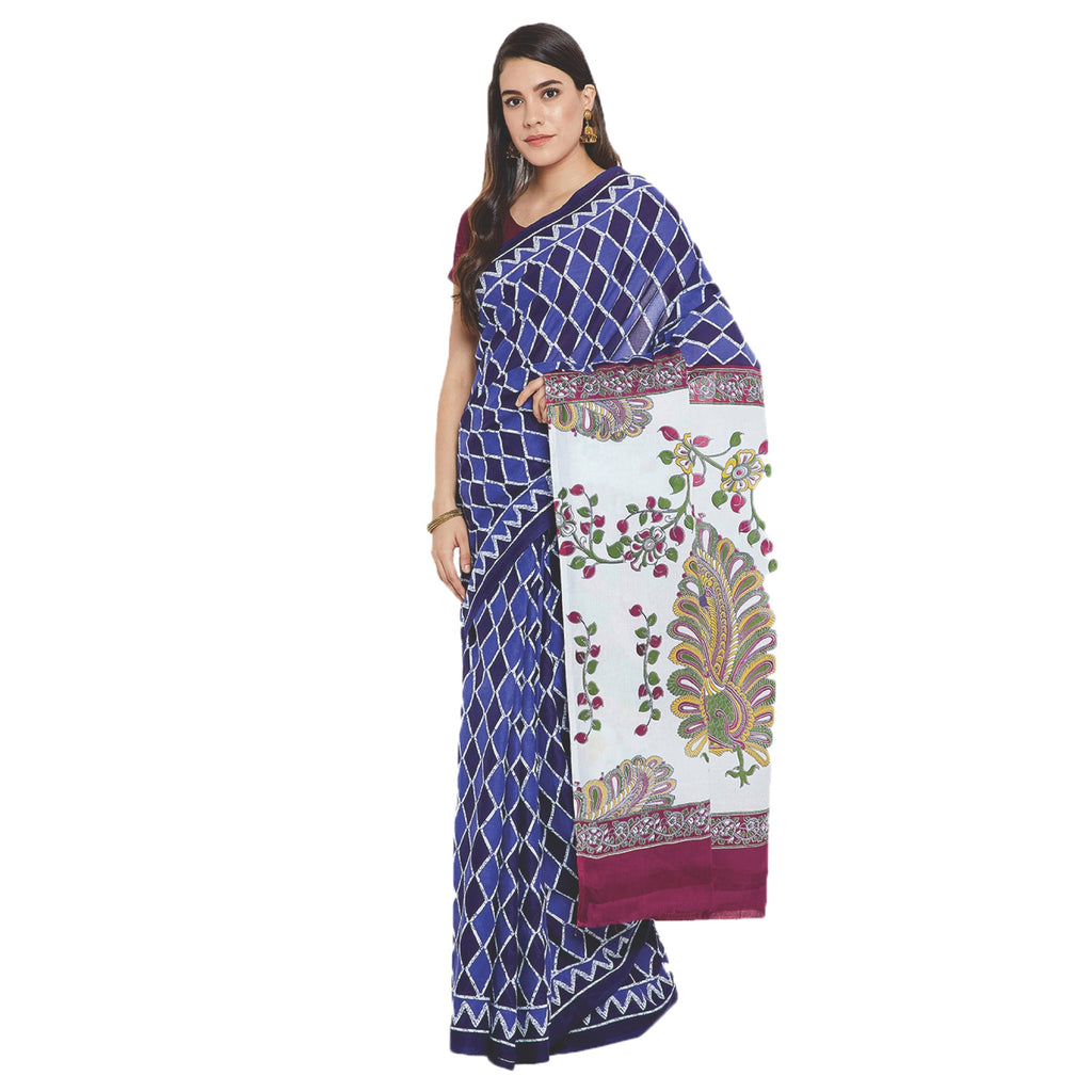 Navy Blue & White Indigo Screen Print Handcrafted Cotton Saree-Saree-Kalakari India-RDSWSA0102-Cotton, Geographical Indication, Hand Blocks, Hand Crafted, Heritage Prints, Indigo, Sarees, Screen Print, Sustainable Fabrics-[Linen,Ethnic,wear,Fashionista,Handloom,Handicraft,Indigo,blockprint,block,print,Cotton,Chanderi,Blue, latest,classy,party,bollywood,trendy,summer,style,traditional,formal,elegant,unique,style,hand,block,print, dabu,booti,gift,present,glamorous,affordable,collectible,Sari,Saree