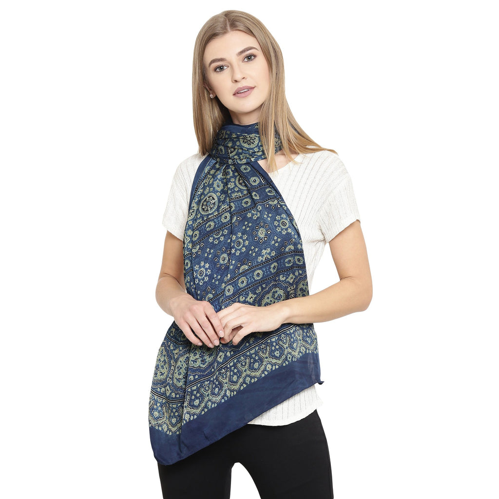 Exotic Modal Silk Handmade Scarf-Scarf-Kalakari India-SKAJST0001-Ajrakh, Gaji Silk, Geographical Indication, Hand Blocks, Hand Crafted, Heritage Prints, Scarf, Silk, Sustainable Fabrics, Vegan Silk-[Linen,Ethnic,wear,Fashionista,Handloom,Handicraft,Indigo,blockprint,block,print,Cotton,Chanderi,Blue, latest,classy,party,bollywood,trendy,summer,style,traditional,formal,elegant,unique,style,hand,block,print, dabu,booti,gift,present,glamorous,affordable,collectible,Sari,Saree,printed, holi, Diwali,