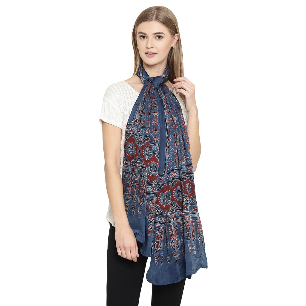 Exotic Modal Silk Handmade Scarf-Scarf-Kalakari India-SKAJST0003-Ajrakh, Gaji Silk, Geographical Indication, Hand Blocks, Hand Crafted, Heritage Prints, Scarf, Silk, Sustainable Fabrics, Vegan Silk-[Linen,Ethnic,wear,Fashionista,Handloom,Handicraft,Indigo,blockprint,block,print,Cotton,Chanderi,Blue, latest,classy,party,bollywood,trendy,summer,style,traditional,formal,elegant,unique,style,hand,block,print, dabu,booti,gift,present,glamorous,affordable,collectible,Sari,Saree,printed, holi, Diwali,