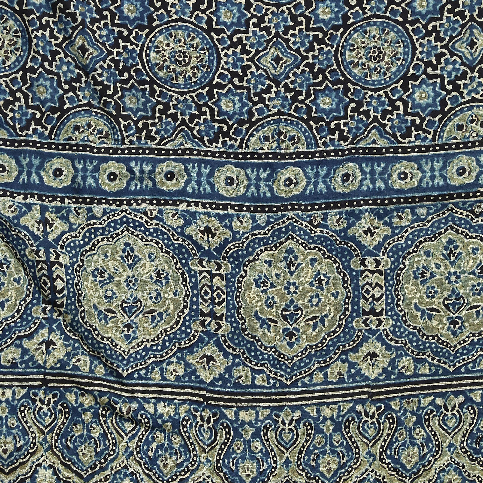 Exotic Modal Silk Handmade Scarf-Scarf-Kalakari India-SKAJST0009-Ajrakh, Gaji Silk, Geographical Indication, Hand Blocks, Hand Crafted, Heritage Prints, Scarf, Silk, Sustainable Fabrics, Vegan Silk-[Linen,Ethnic,wear,Fashionista,Handloom,Handicraft,Indigo,blockprint,block,print,Cotton,Chanderi,Blue, latest,classy,party,bollywood,trendy,summer,style,traditional,formal,elegant,unique,style,hand,block,print, dabu,booti,gift,present,glamorous,affordable,collectible,Sari,Saree,printed, holi, Diwali,