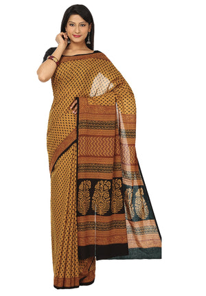 Kalakari India Mustard Yellow Bagh Hand block Print Handcrafted Cotton Saree-Saree-Kalakari India-ZIBASA0002-Bagh, Cotton, Geographical Indication, Hand Blocks, Hand Crafted, Heritage Prints, Natural Dyes, Sarees, Sustainable Fabrics-[Linen,Ethnic,wear,Fashionista,Handloom,Handicraft,Indigo,blockprint,block,print,Cotton,Chanderi,Blue, latest,classy,party,bollywood,trendy,summer,style,traditional,formal,elegant,unique,style,hand,block,print, dabu,booti,gift,present,glamorous,affordable,collectibl