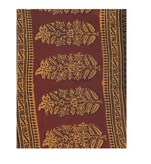 Kalakari India Maroon Bagh Hand block Print Handcrafted Cotton Saree-Saree-Kalakari India-ZIBASA0003-Bagh, Cotton, Geographical Indication, Hand Blocks, Hand Crafted, Heritage Prints, Natural Dyes, Sarees, Sustainable Fabrics-[Linen,Ethnic,wear,Fashionista,Handloom,Handicraft,Indigo,blockprint,block,print,Cotton,Chanderi,Blue, latest,classy,party,bollywood,trendy,summer,style,traditional,formal,elegant,unique,style,hand,block,print, dabu,booti,gift,present,glamorous,affordable,collectible,Sari,S