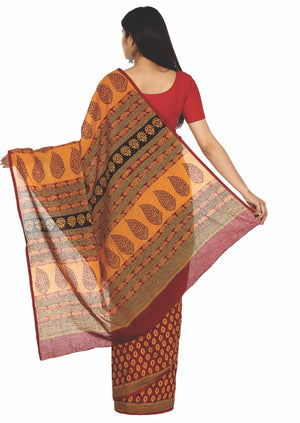 Kalakari India Maroon Bagh Hand block Print Handcrafted Cotton Saree-Saree-Kalakari India-ZIBASA0004-Bagh, Cotton, Geographical Indication, Hand Blocks, Hand Crafted, Heritage Prints, Natural Dyes, Sarees, Sustainable Fabrics-[Linen,Ethnic,wear,Fashionista,Handloom,Handicraft,Indigo,blockprint,block,print,Cotton,Chanderi,Blue, latest,classy,party,bollywood,trendy,summer,style,traditional,formal,elegant,unique,style,hand,block,print, dabu,booti,gift,present,glamorous,affordable,collectible,Sari,S