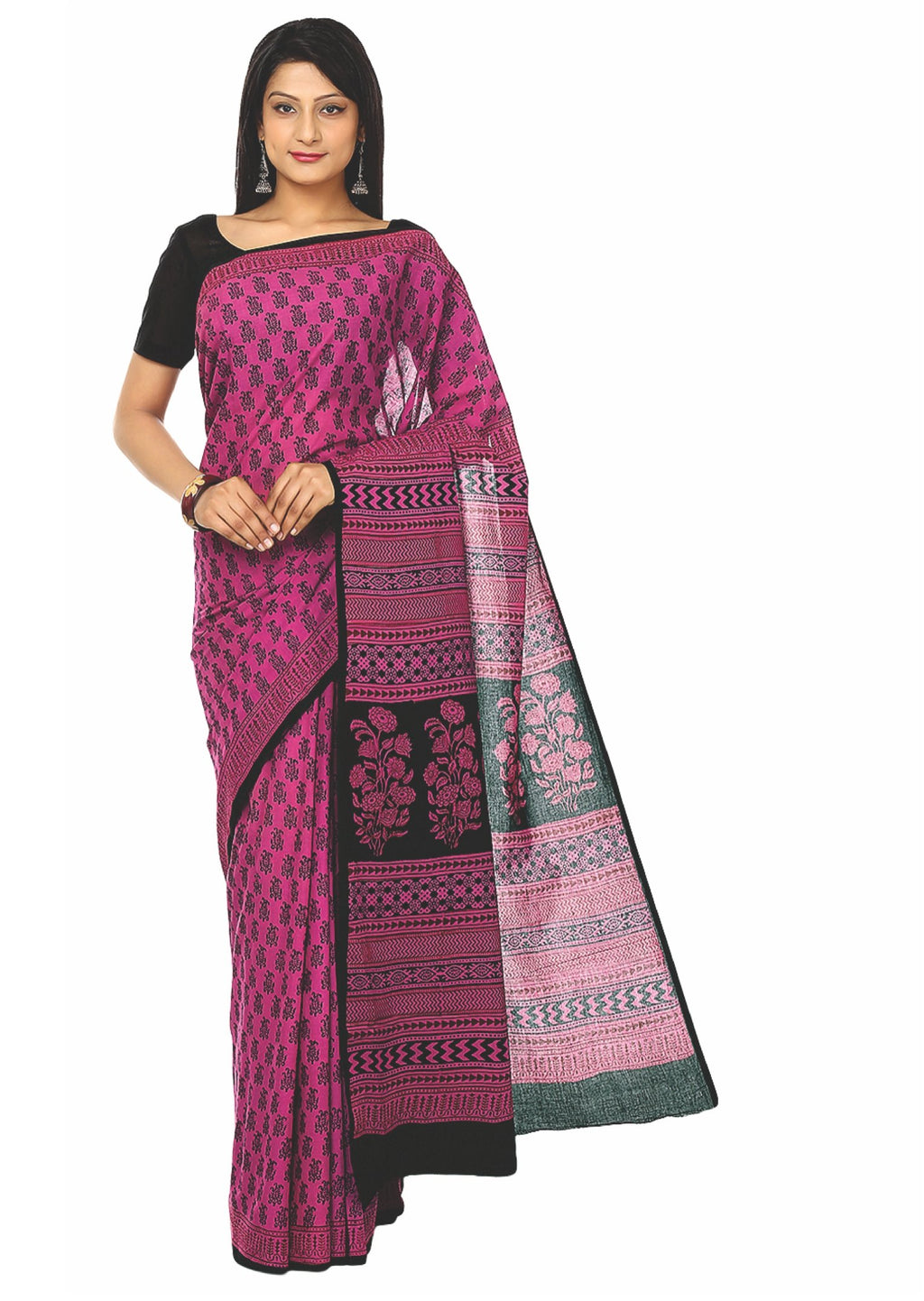 Kalakari India Pink Bagh Handblock Print Handcrafted Cotton Saree-Saree-Kalakari India-ZIBASA0007-Bagh, Cotton, Geographical Indication, Hand Blocks, Hand Crafted, Heritage Prints, Natural Dyes, Sarees, Sustainable Fabrics-[Linen,Ethnic,wear,Fashionista,Handloom,Handicraft,Indigo,blockprint,block,print,Cotton,Chanderi,Blue, latest,classy,party,bollywood,trendy,summer,style,traditional,formal,elegant,unique,style,hand,block,print, dabu,booti,gift,present,glamorous,affordable,collectible,Sari,Sare