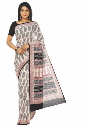 Kalakari India Off-White & Black Bagh Handblock Print Handcrafted Cotton Saree-Saree-Kalakari India-ZIBASA0015-Bagh, Cotton, Geographical Indication, Hand Blocks, Hand Crafted, Heritage Prints, Natural Dyes, Sarees, Sustainable Fabrics-[Linen,Ethnic,wear,Fashionista,Handloom,Handicraft,Indigo,blockprint,block,print,Cotton,Chanderi,Blue, latest,classy,party,bollywood,trendy,summer,style,traditional,formal,elegant,unique,style,hand,block,print, dabu,booti,gift,present,glamorous,affordable,collecti
