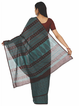 Kalakari India Teal Green Bagh Handblock Print Handcrafted Cotton Saree-Saree-Kalakari India-ZIBASA0020-Bagh, Cotton, Geographical Indication, Hand Blocks, Hand Crafted, Heritage Prints, Natural Dyes, Sarees, Sustainable Fabrics-[Linen,Ethnic,wear,Fashionista,Handloom,Handicraft,Indigo,blockprint,block,print,Cotton,Chanderi,Blue, latest,classy,party,bollywood,trendy,summer,style,traditional,formal,elegant,unique,style,hand,block,print, dabu,booti,gift,present,glamorous,affordable,collectible,Sar