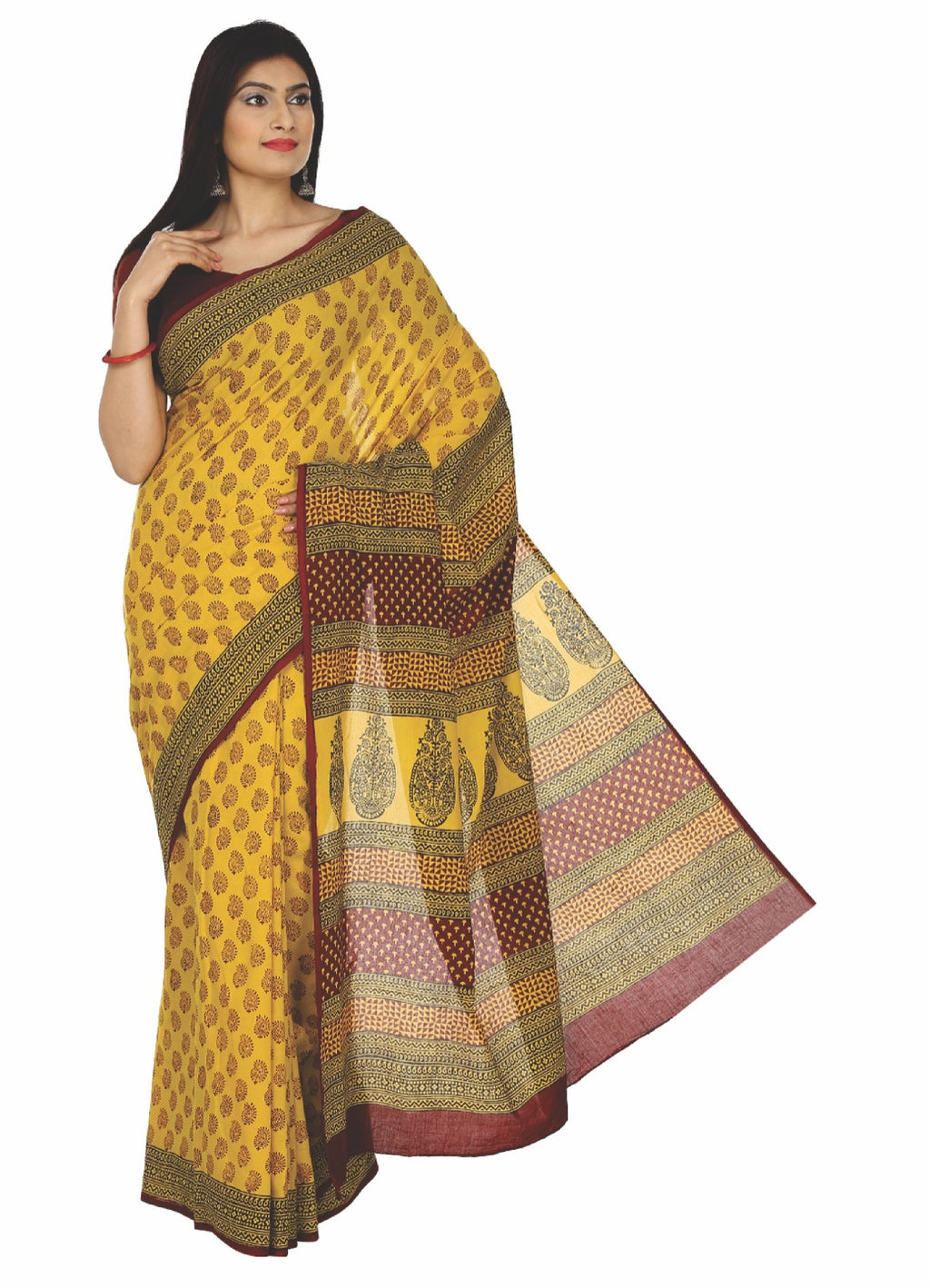 Kalakari India Yellow Bagh Hand block Print Handcrafted Cotton Saree-Saree-Kalakari India-ZIBASA0024-Bagh, Cotton, Geographical Indication, Hand Blocks, Hand Crafted, Heritage Prints, Natural Dyes, Sarees, Sustainable Fabrics-[Linen,Ethnic,wear,Fashionista,Handloom,Handicraft,Indigo,blockprint,block,print,Cotton,Chanderi,Blue, latest,classy,party,bollywood,trendy,summer,style,traditional,formal,elegant,unique,style,hand,block,print, dabu,booti,gift,present,glamorous,affordable,collectible,Sari,S