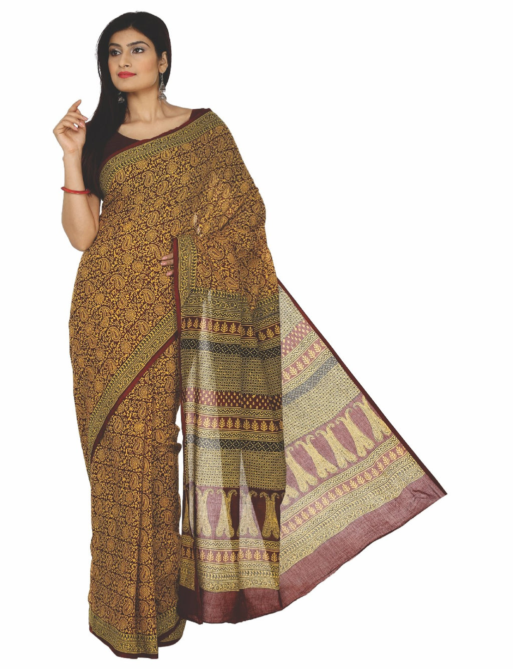 Kalakari India Mustard Yellow Bagh Hand block Print Handcrafted Cotton Saree-Saree-Kalakari India-ZIBASA0025-Bagh, Cotton, Geographical Indication, Hand Blocks, Hand Crafted, Heritage Prints, Natural Dyes, Sarees, Sustainable Fabrics-[Linen,Ethnic,wear,Fashionista,Handloom,Handicraft,Indigo,blockprint,block,print,Cotton,Chanderi,Blue, latest,classy,party,bollywood,trendy,summer,style,traditional,formal,elegant,unique,style,hand,block,print, dabu,booti,gift,present,glamorous,affordable,collectibl