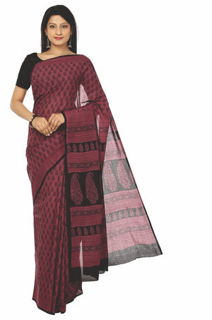 Maroon Cotton Handblock Bagh Print Handcrafted Saree-Saree-Kalakari India-ZIBASA0033-Bagh, Cotton, Geographical Indication, Hand Blocks, Hand Crafted, Heritage Prints, Natural Dyes, Sarees, Sustainable Fabrics-[Linen,Ethnic,wear,Fashionista,Handloom,Handicraft,Indigo,blockprint,block,print,Cotton,Chanderi,Blue, latest,classy,party,bollywood,trendy,summer,style,traditional,formal,elegant,unique,style,hand,block,print, dabu,booti,gift,present,glamorous,affordable,collectible,Sari,Saree,printed, ho