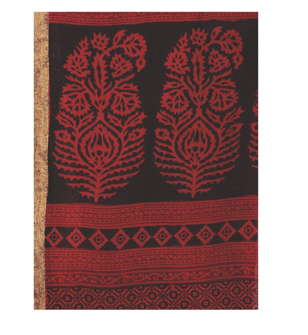Red Cotton Hand Block Bagh Print Handcrafted Saree-Saree-Kalakari India-ZIBASA0048-Bagh, Cotton, Geographical Indication, Hand Blocks, Hand Crafted, Heritage Prints, Natural Dyes, Sarees, Sustainable Fabrics-[Linen,Ethnic,wear,Fashionista,Handloom,Handicraft,Indigo,blockprint,block,print,Cotton,Chanderi,Blue, latest,classy,party,bollywood,trendy,summer,style,traditional,formal,elegant,unique,style,hand,block,print, dabu,booti,gift,present,glamorous,affordable,collectible,Sari,Saree,printed, holi