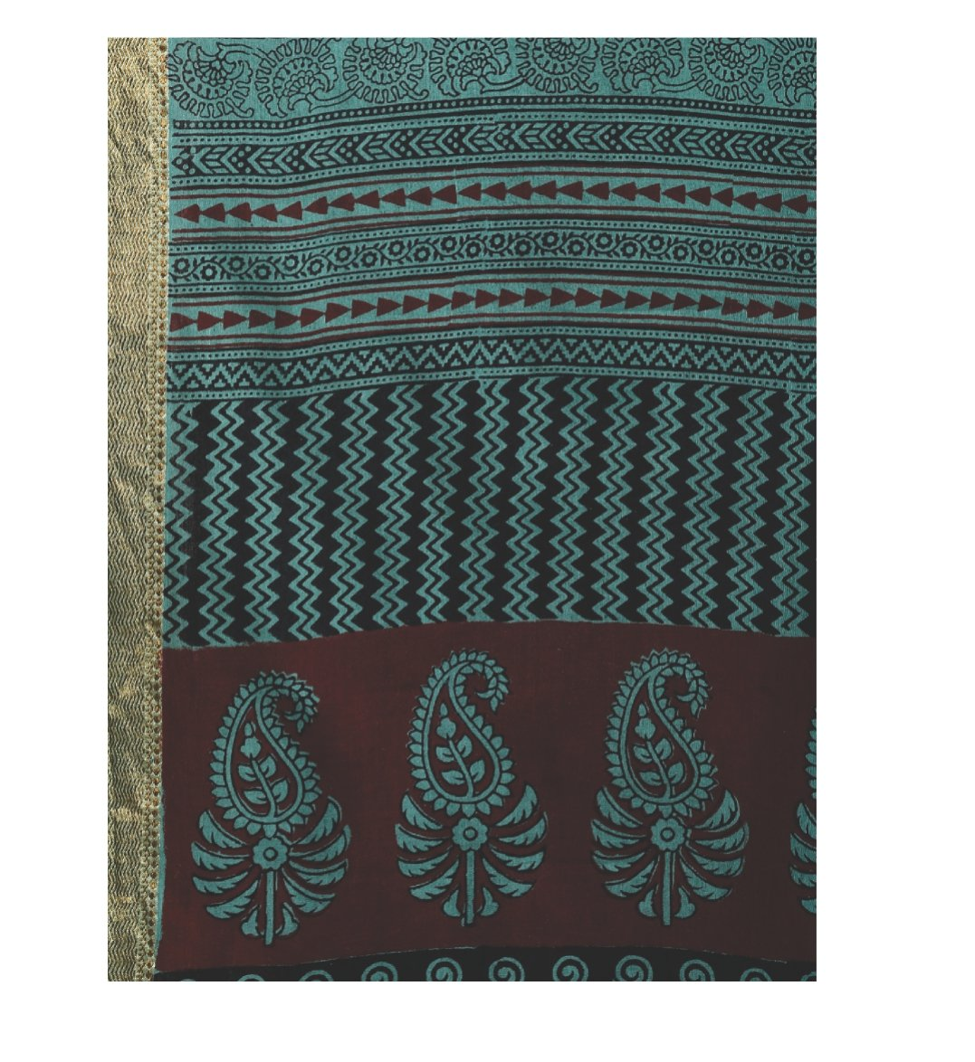 Teal Green Cotton Hand Block Bagh Print Handcrafted Saree-Saree-Kalakari India-ZIBASA0049-Bagh, Cotton, Geographical Indication, Hand Blocks, Hand Crafted, Heritage Prints, Natural Dyes, Sarees, Sustainable Fabrics-[Linen,Ethnic,wear,Fashionista,Handloom,Handicraft,Indigo,blockprint,block,print,Cotton,Chanderi,Blue, latest,classy,party,bollywood,trendy,summer,style,traditional,formal,elegant,unique,style,hand,block,print, dabu,booti,gift,present,glamorous,affordable,collectible,Sari,Saree,printe