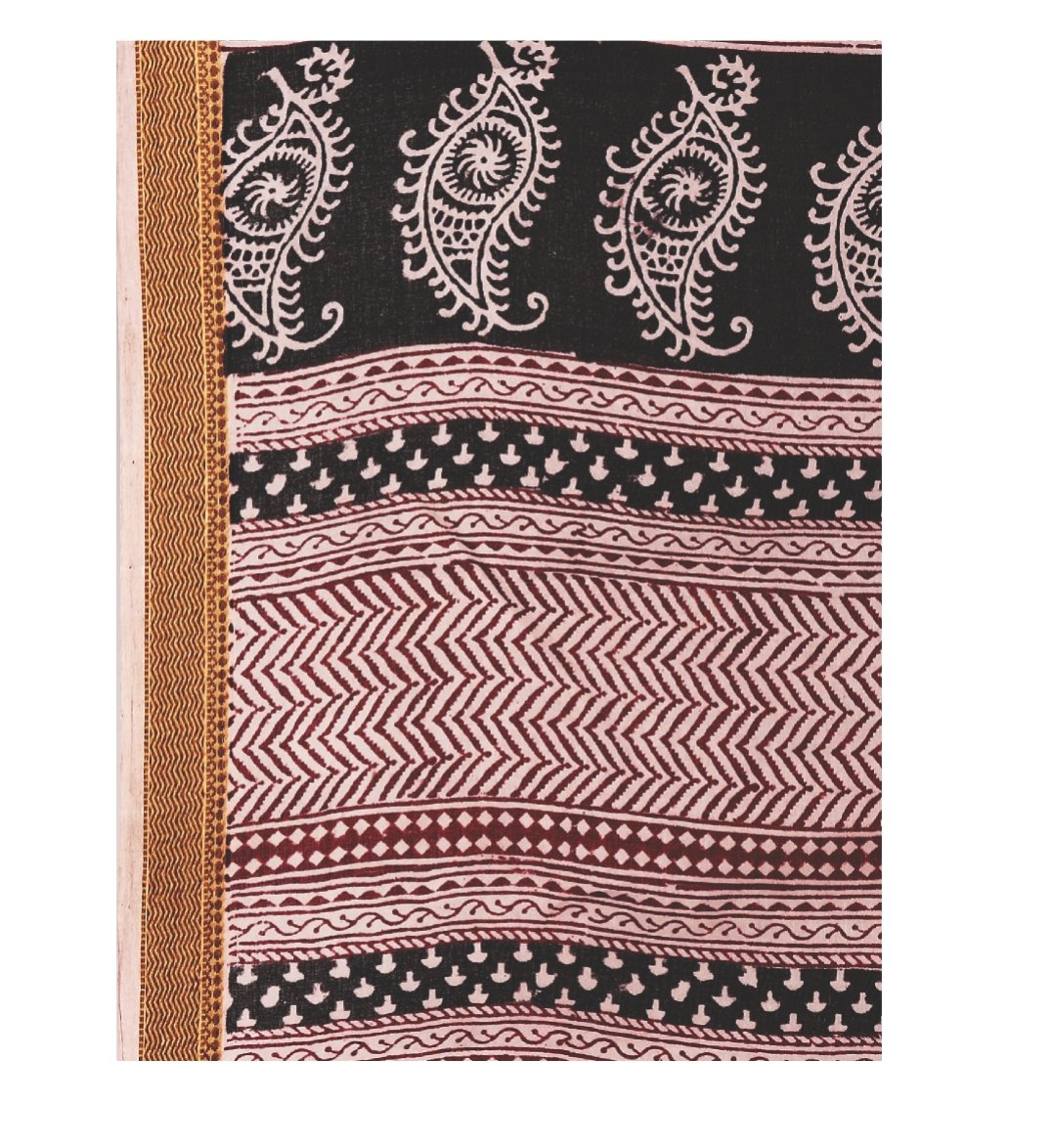 Black Cotton Hand Block Bagh Print Handcrafted Saree-Saree-Kalakari India-ZIBASA0054-Bagh, Cotton, Geographical Indication, Hand Blocks, Hand Crafted, Heritage Prints, Natural Dyes, Sarees, Sustainable Fabrics-[Linen,Ethnic,wear,Fashionista,Handloom,Handicraft,Indigo,blockprint,block,print,Cotton,Chanderi,Blue, latest,classy,party,bollywood,trendy,summer,style,traditional,formal,elegant,unique,style,hand,block,print, dabu,booti,gift,present,glamorous,affordable,collectible,Sari,Saree,printed, ho