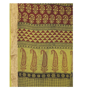 Green Cotton Hand Block Bagh Print Handcrafted Saree-Saree-Kalakari India-ZIBASA0057-Bagh, Cotton, Geographical Indication, Hand Blocks, Hand Crafted, Heritage Prints, Natural Dyes, Sarees, Sustainable Fabrics-[Linen,Ethnic,wear,Fashionista,Handloom,Handicraft,Indigo,blockprint,block,print,Cotton,Chanderi,Blue, latest,classy,party,bollywood,trendy,summer,style,traditional,formal,elegant,unique,style,hand,block,print, dabu,booti,gift,present,glamorous,affordable,collectible,Sari,Saree,printed, ho