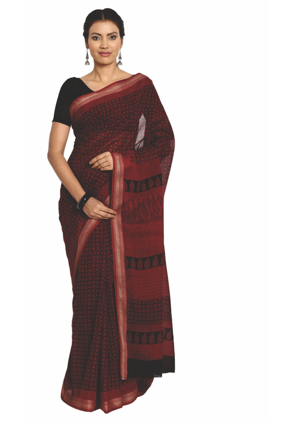 Maroon Cotton Hand Block Bagh Print Handcrafted Saree-Saree-Kalakari India-ZIBASA0066-Bagh, Cotton, Geographical Indication, Hand Blocks, Hand Crafted, Heritage Prints, Natural Dyes, Sarees, Sustainable Fabrics-[Linen,Ethnic,wear,Fashionista,Handloom,Handicraft,Indigo,blockprint,block,print,Cotton,Chanderi,Blue, latest,classy,party,bollywood,trendy,summer,style,traditional,formal,elegant,unique,style,hand,block,print, dabu,booti,gift,present,glamorous,affordable,collectible,Sari,Saree,printed, h