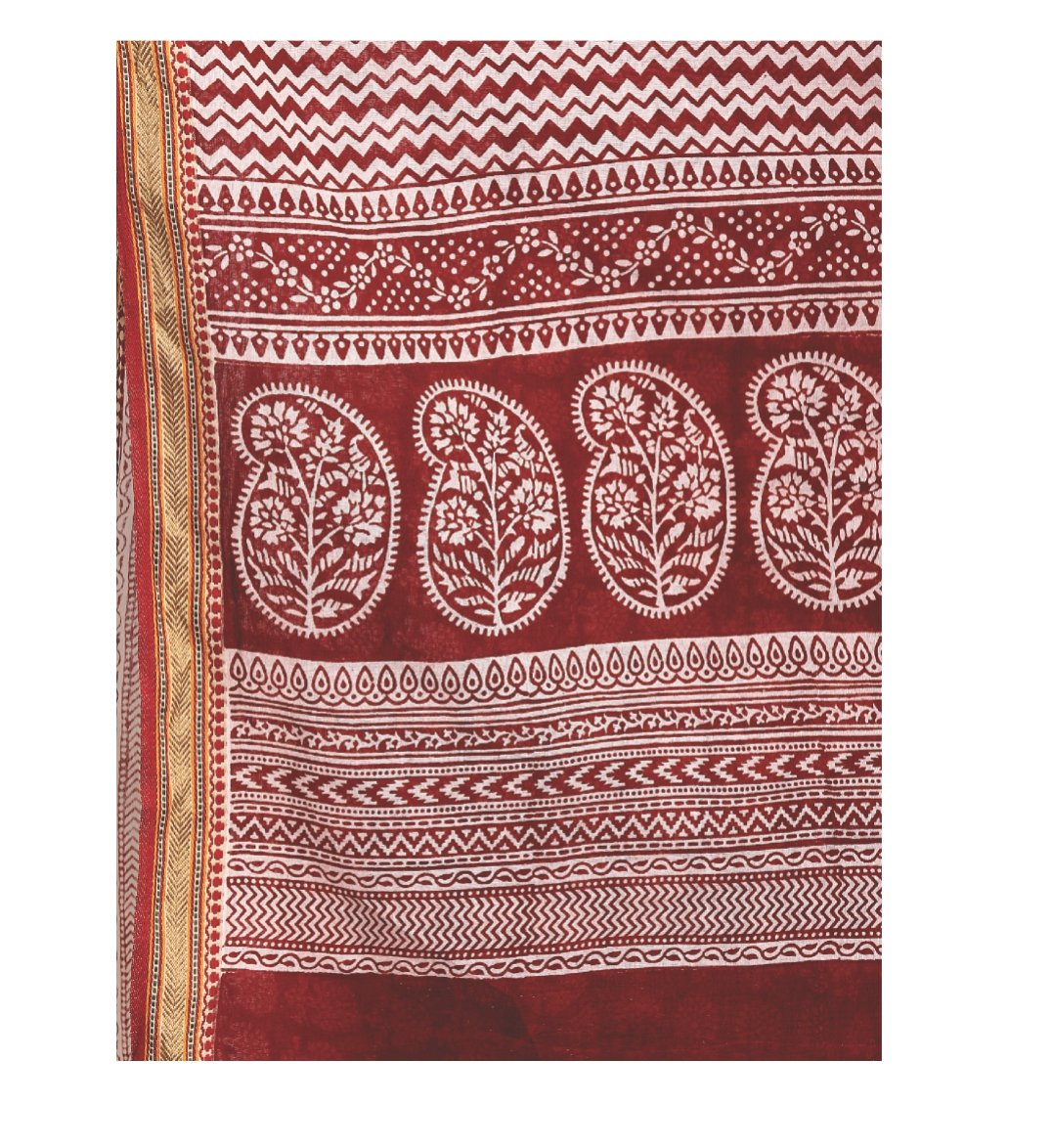 Red Cotton Hand Block Bagh Print Handcrafted Saree-Saree-Kalakari India-ZIBASA0073-Bagh, Cotton, Geographical Indication, Hand Blocks, Hand Crafted, Heritage Prints, Natural Dyes, Sarees, Sustainable Fabrics-[Linen,Ethnic,wear,Fashionista,Handloom,Handicraft,Indigo,blockprint,block,print,Cotton,Chanderi,Blue, latest,classy,party,bollywood,trendy,summer,style,traditional,formal,elegant,unique,style,hand,block,print, dabu,booti,gift,present,glamorous,affordable,collectible,Sari,Saree,printed, holi