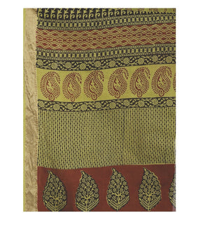 Olive Green Cotton Hand Block Bagh Print Handcrafted Saree-Saree-Kalakari India-ZIBASA0077-Bagh, Cotton, Geographical Indication, Hand Blocks, Hand Crafted, Heritage Prints, Natural Dyes, Sarees, Sustainable Fabrics-[Linen,Ethnic,wear,Fashionista,Handloom,Handicraft,Indigo,blockprint,block,print,Cotton,Chanderi,Blue, latest,classy,party,bollywood,trendy,summer,style,traditional,formal,elegant,unique,style,hand,block,print, dabu,booti,gift,present,glamorous,affordable,collectible,Sari,Saree,print