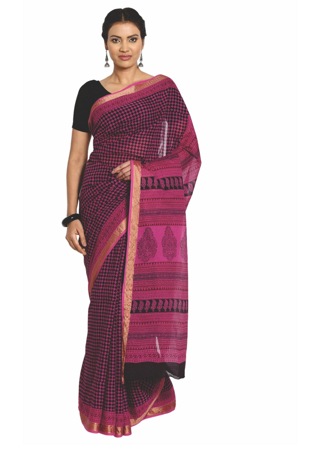 Magenta Cotton Hand Block Bagh Print Handcrafted Saree-Saree-Kalakari India-ZIBASA0078-Bagh, Cotton, Geographical Indication, Hand Blocks, Hand Crafted, Heritage Prints, Natural Dyes, Sarees, Sustainable Fabrics-[Linen,Ethnic,wear,Fashionista,Handloom,Handicraft,Indigo,blockprint,block,print,Cotton,Chanderi,Blue, latest,classy,party,bollywood,trendy,summer,style,traditional,formal,elegant,unique,style,hand,block,print, dabu,booti,gift,present,glamorous,affordable,collectible,Sari,Saree,printed,