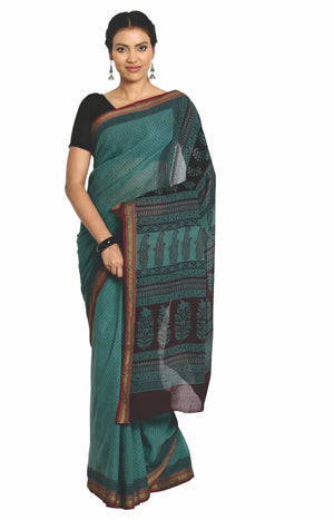 Teal Green Cotton Hand Block Bagh Print Handcrafted Saree-Saree-Kalakari India-ZIBASA0080-Bagh, Cotton, Geographical Indication, Hand Blocks, Hand Crafted, Heritage Prints, Natural Dyes, Sarees, Sustainable Fabrics-[Linen,Ethnic,wear,Fashionista,Handloom,Handicraft,Indigo,blockprint,block,print,Cotton,Chanderi,Blue, latest,classy,party,bollywood,trendy,summer,style,traditional,formal,elegant,unique,style,hand,block,print, dabu,booti,gift,present,glamorous,affordable,collectible,Sari,Saree,printe