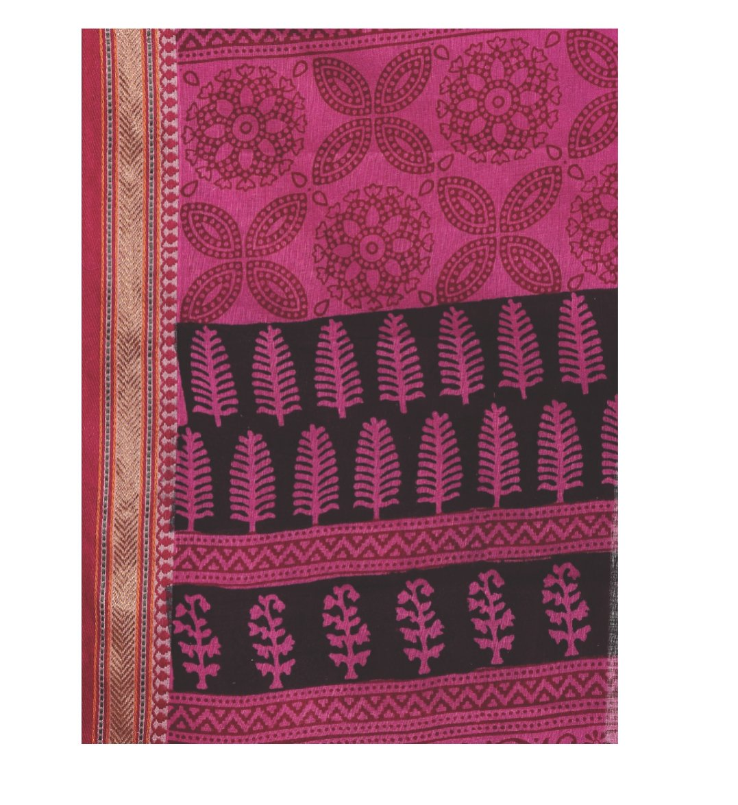 Pink Cotton Hand Block Bagh Print Handcrafted Saree-Saree-Kalakari India-ZIBASA0082-Bagh, Cotton, Geographical Indication, Hand Blocks, Hand Crafted, Heritage Prints, Natural Dyes, Sarees, Sustainable Fabrics-[Linen,Ethnic,wear,Fashionista,Handloom,Handicraft,Indigo,blockprint,block,print,Cotton,Chanderi,Blue, latest,classy,party,bollywood,trendy,summer,style,traditional,formal,elegant,unique,style,hand,block,print, dabu,booti,gift,present,glamorous,affordable,collectible,Sari,Saree,printed, hol