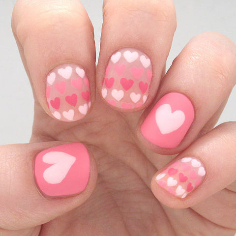 Love Heart Nail Art For Valentines Day