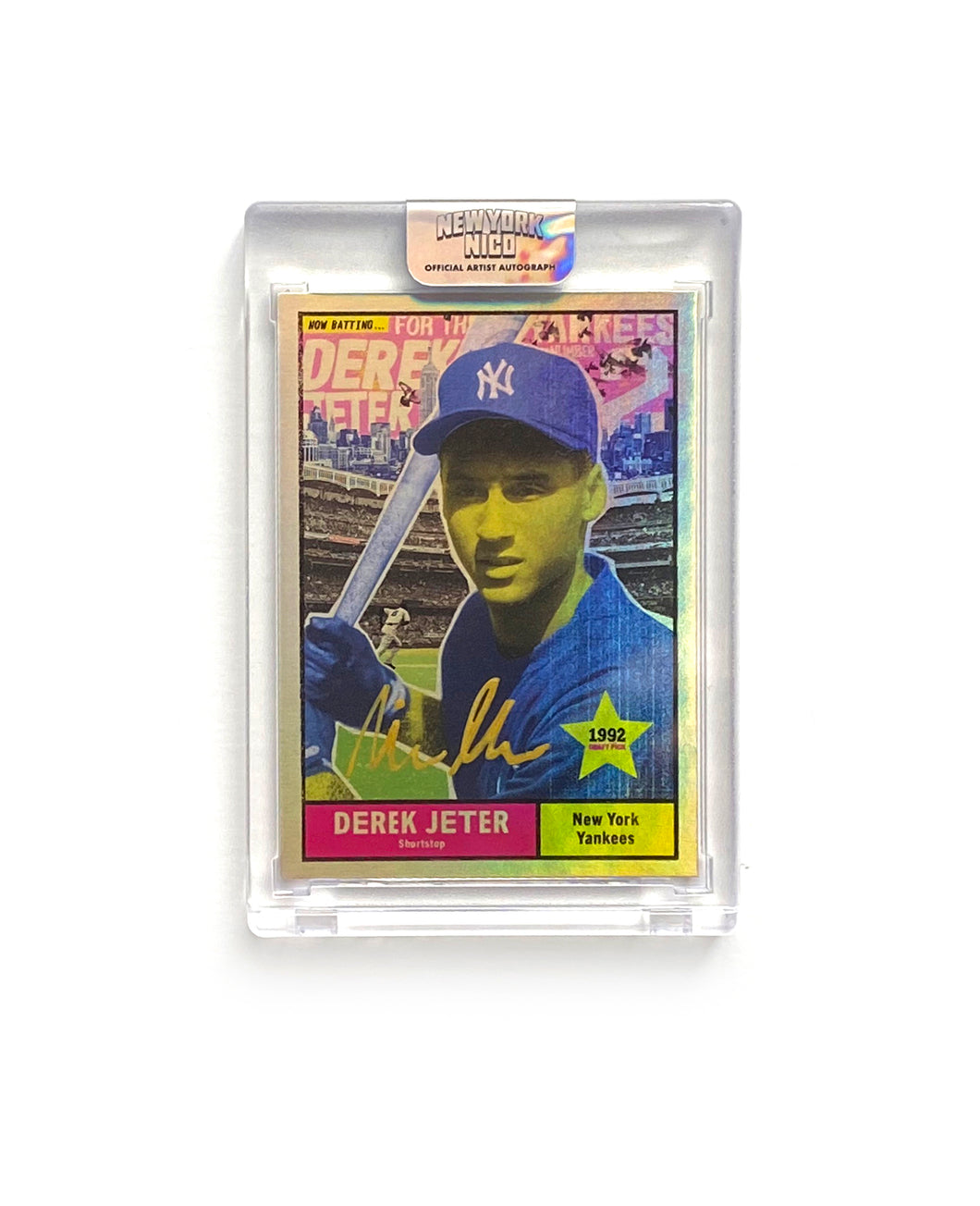"1 of 2 Derek Jeter ""New York Nico"" Topps Project 70 Artist Autographed Rainbow Foil Card in Gold Ink"