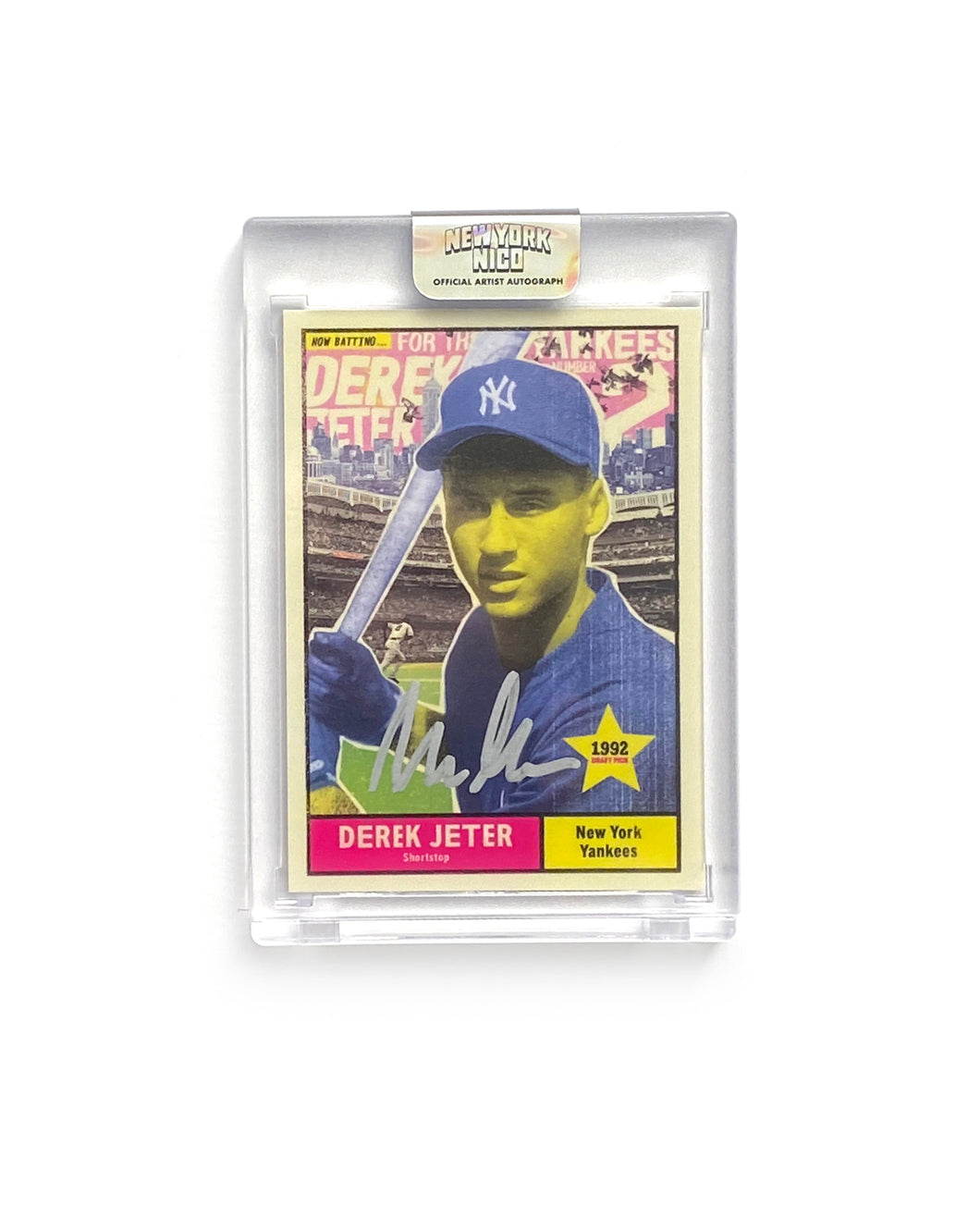 "1 of 15 Derek Jeter ""New York Nico"" Topps Project 70 Artist Autographed Card in Silver Ink"