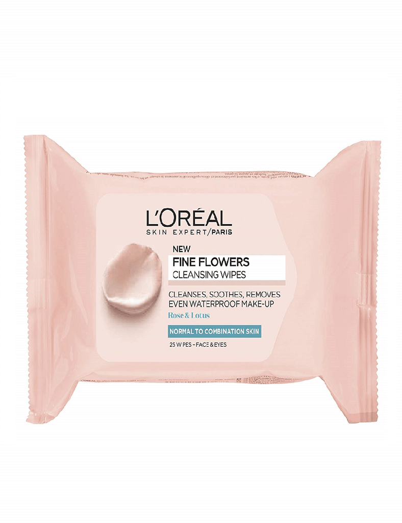 Loreal Paris Fine Flowers Cleansing Wipes Combination Skin 25 Wipes