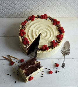Gluten Free Chocolate Cake with White Chocolate Buttercream