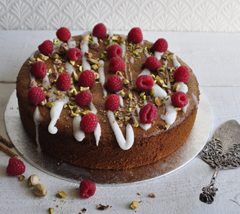 Amazing gluten free raspberry and pistachio cake by Gosh of Hove