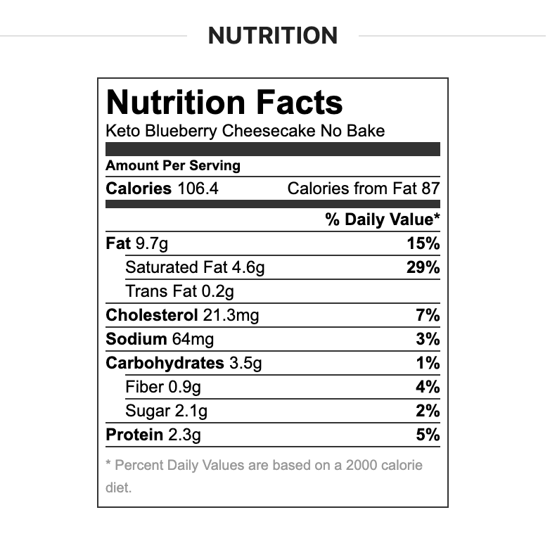 Nutritional Information for Keto Blueberry Cheesecake