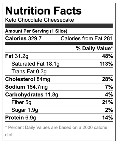 Keto Cheesecake Nutritional Information
