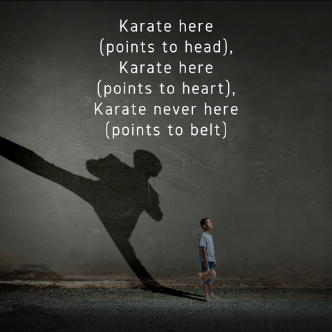 Karate is not in your belt but in your head and heart. Miyagi Karate Kid