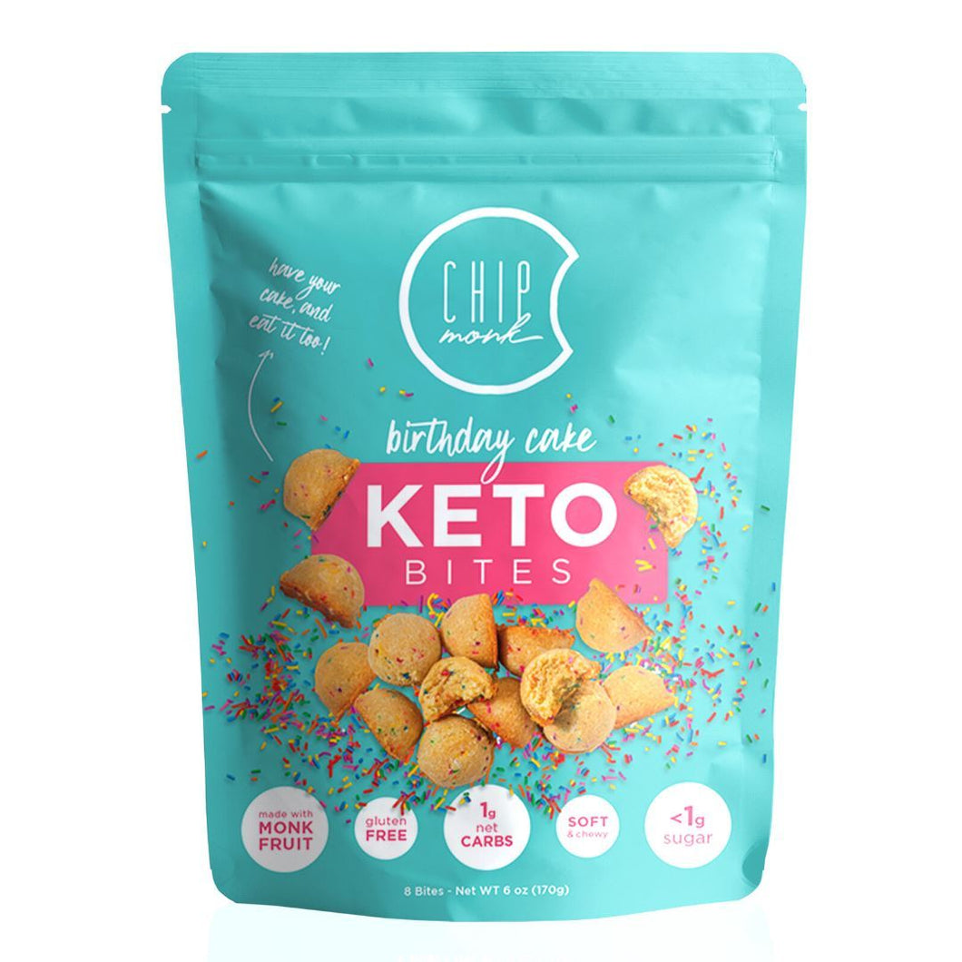 ChipMonk Keto Cookie Bites bite CM Baking Birthday Cake 1 Pouch (8 Bites)