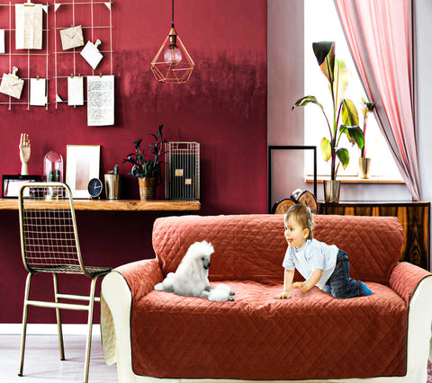 wine red sofa cover for dogs and kids