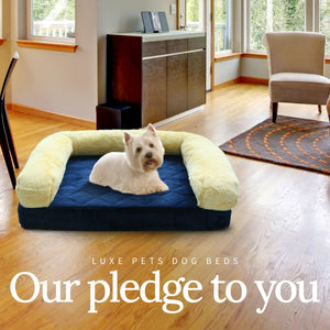 Load image into Gallery viewer, Pet Bed Memory Foam Luxurious Velvet, Faux Fur - Blue Gold - Luxe Pets Products
