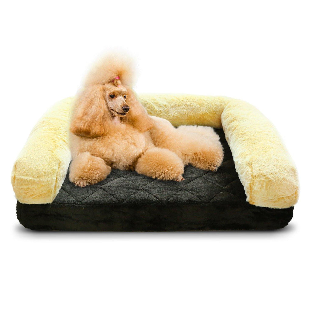Orthopedic Pet Bed Memory Foam Luxurious Velvet, Faux Fur - XL, Black Gold