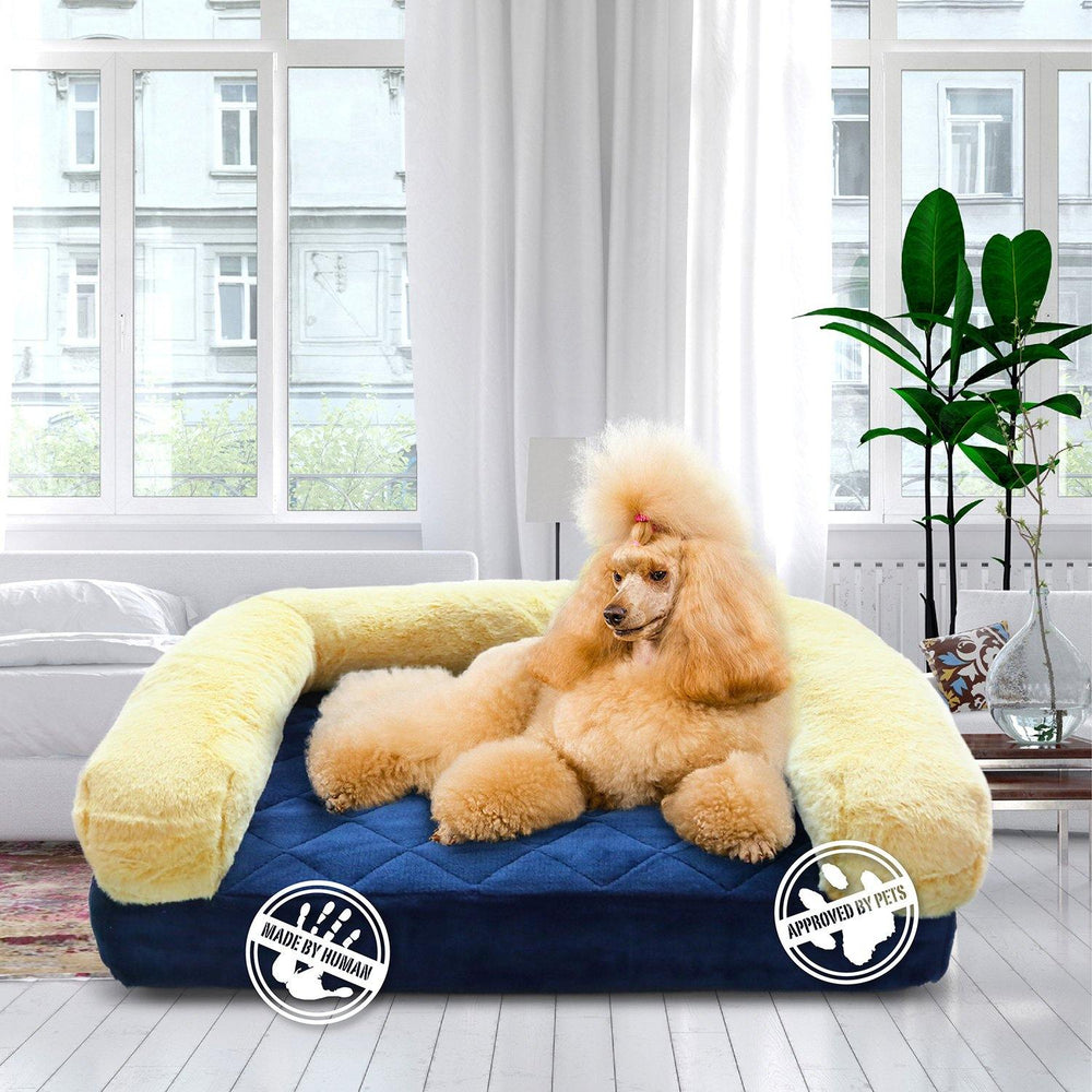 Load image into Gallery viewer, orthopedic memory foam dog bed blue, gold with dog in luxury home